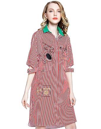 AiSi Grande Taille Robe Chemise Longue Femme Col V Polo avec Manche Courte  Rayure Verticale Rouge 09b82a1de299