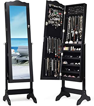 Amazon.com: Giantex Jewelry Cabinet Armoire Lockable With Mirror, Classic Full Length Mirrored Organizer Storage Box For Bedroom Necklace Free Floor Standing Multiple Shelves, Jewelry Armoires Cabinets, Black: Furniture & Decor