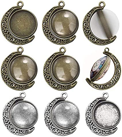 10 Sets 25mm Moon Shape Rotation Double Sides Cabochon Pendant Trays with Glass