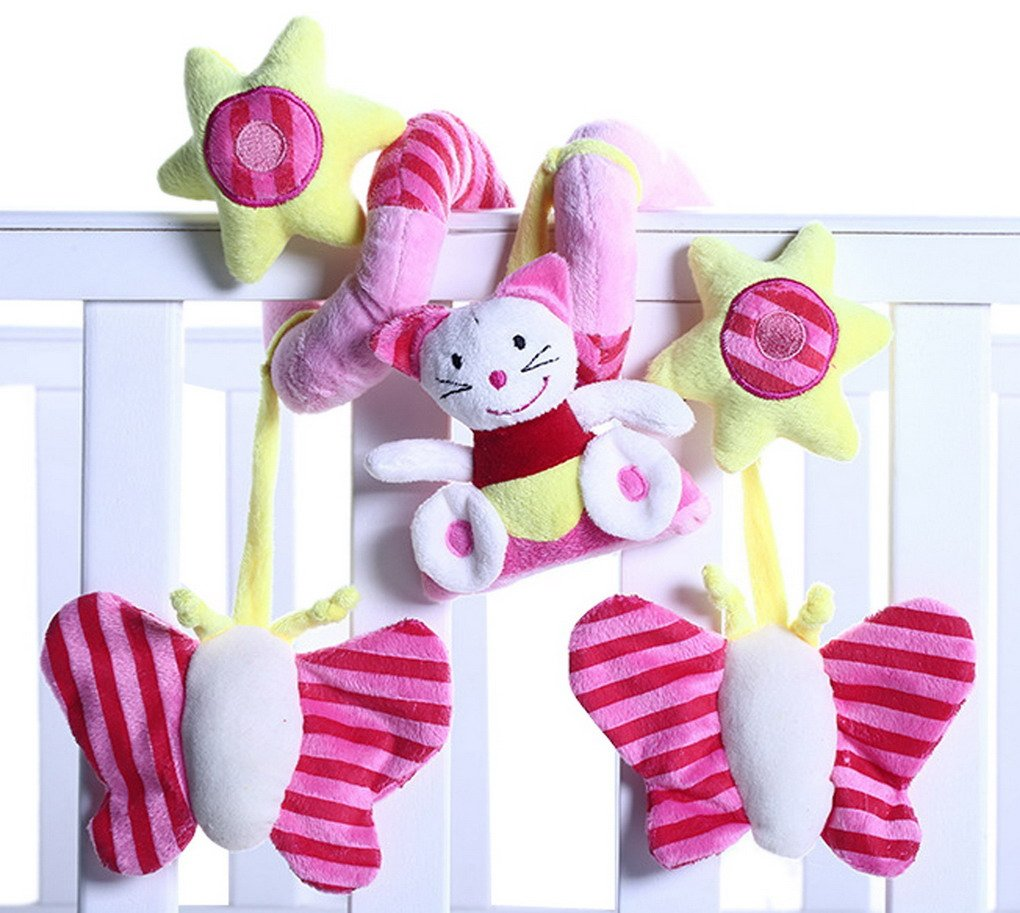 Happy Cherry - Juguetes Colgantes Espiral Colgantes Peluche Animales para Cuna Cochecito bebés niños niñas - Gato rosa