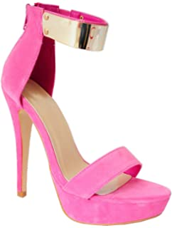 e44b9cd7d71 Ladies Womens Candy Pink Faux Suede Strappy Sandals Gold Chain Metal ...