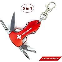 Porte-clés Outil multifonction 5 en 1 Switzerland - Outil multifonction avec couteau, décapsuleur, 2 x, tournevis et lumière LED