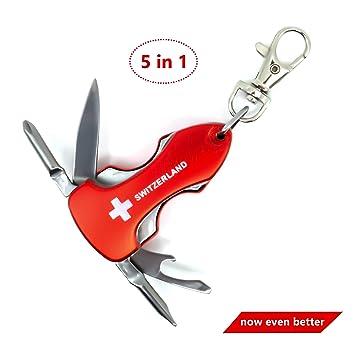 Llavero multi Tool 5 en 1 Switzerland - Multi herramienta con Cuchillo, abrebotellas, 2 x Destornillador y LED de luz