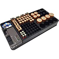 TOOGOO Battery Storage Organizer Holder with Tester - Battery Caddy Rack Case Box Holders Including Battery Checker for AAA AA C D 9V and Small Watch Batteries