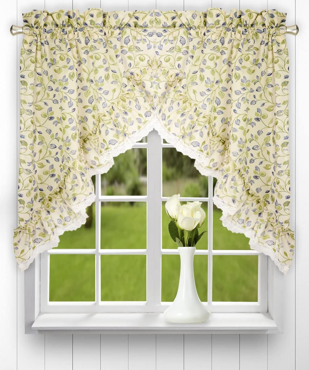 VOGOL Floral Blossoming Valances for Living Room, Purple Flower Embroidery White Linen Curtain Valances for Bedroom Ding Room Girls Room Rod Pocket 18 Long, One Panel