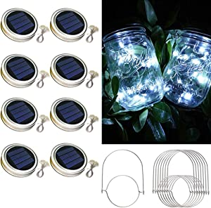Solar Mason Jar Lid Lights,8 Pack 30 Led Lights Starry Fairy Firefly Jar Lights, Solar Lantern Lights for Outdoor Patio Garden Yard Wedding Decor,8 Hangers Included(Jars Not Included) (Cold White)