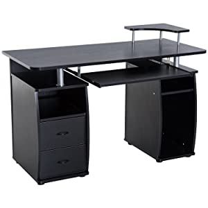 HomCom Home Office / Dorm Room Computer Desk with Keyboard Tray - Black
