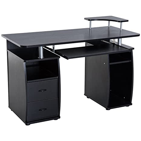 reputable site 4b9ab 2a0db HomCom Home Office / Dorm Room Computer Desk with Keyboard Tray - Black