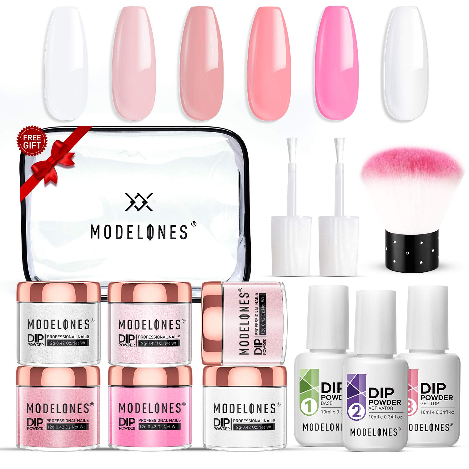 Dip Powder Nail Kit Starter with 6 Color,Dip Powder Nail Starter Kit Dip System Acrylic Dip Nail Kit for French Nail Style No Lamp Needed Quick Do Nail Portable Kit