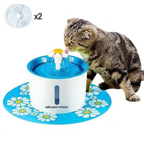 KOBWA - Fuente de Agua para Mascotas, 1,6 L, con 2 filtros