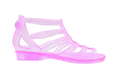 260626cae323 Sara Z Toddler Girls Translucent Glitter Ankle Gladiator Jelly Sandals 5 6  Fuchsia