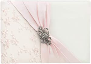 """Lillian Rose Ivory Pink Lace Wedding Guest Book with Silver and Rhinestone Brooch, 8.5"""" x 6"""""""