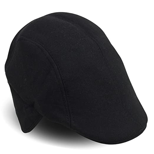 303368fc045601 Amazon.com: Fall/Winter Solid Black IVY Hat With Ear Flaps: Clothing