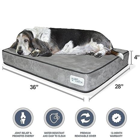 """PetFusion SerenityLounge - Cama de espuma viscoelástica sólida de 4 """"para perros de tamaño"""