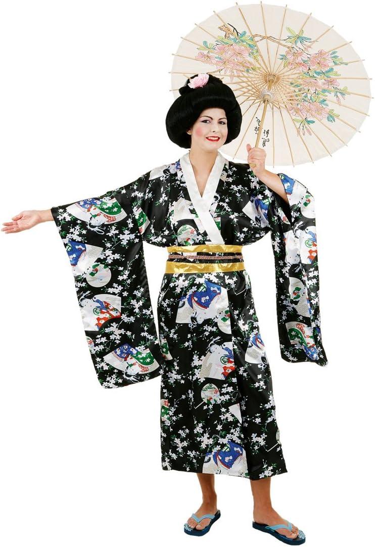 Disfraz de Geisha japonesa negro kimono abrigo ropa disfraz Geisha ...