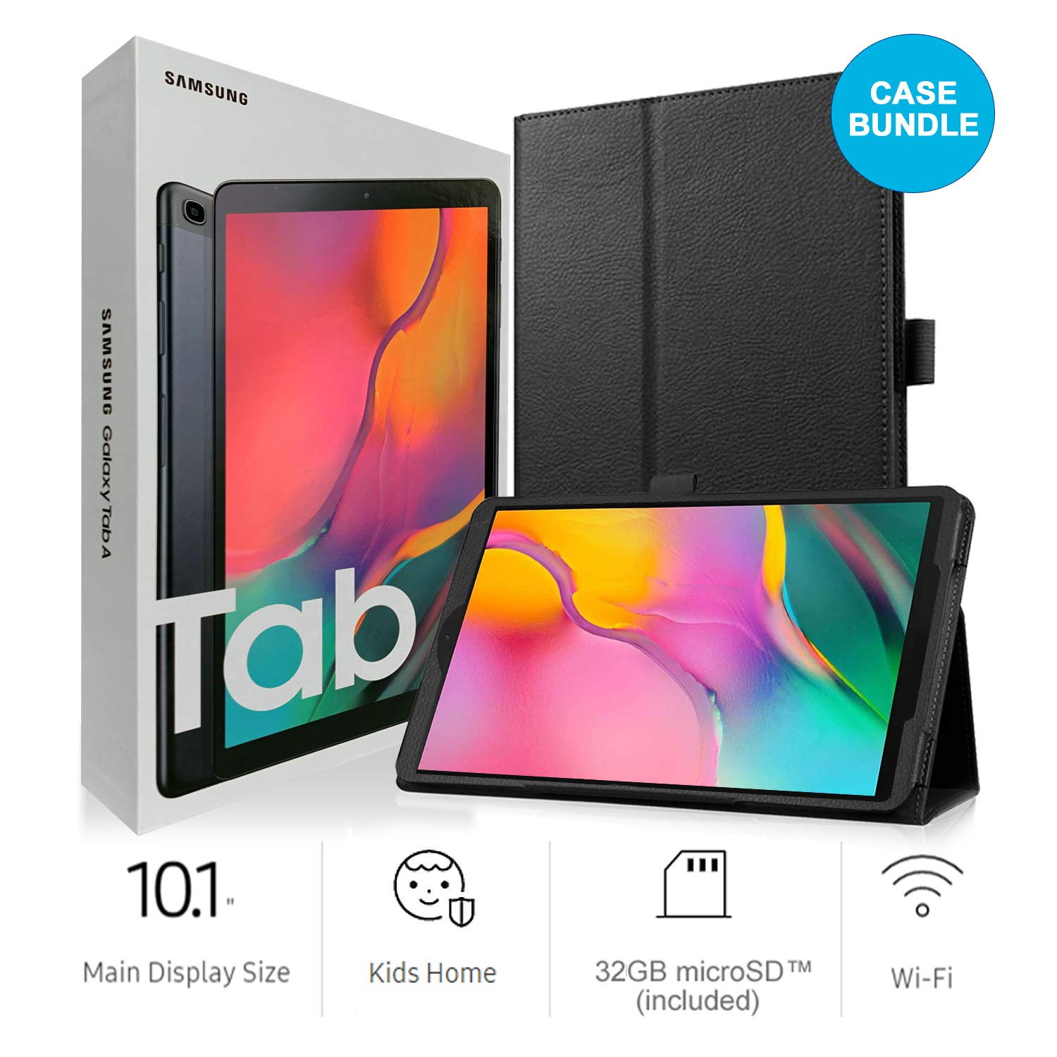 Samsung Galaxy Tab A SM-T510 10.1-Inch Touchscreen 32 GB Tablet (2 GB Ram, Wi-Fi, Android OS, Black) International Version Bundle with Case, Screen Protector, Stylus and 32GB microSD Card