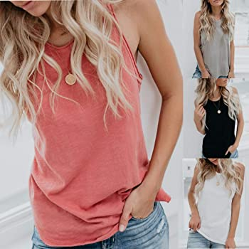 POLP Camisetas sin Mangas de Fitness para Mujer Chaleco Chica Blusa Sexy Mujer Camisa Sexy sin Mangas Rosa Negro Blanco Gris Casual Tank Tops T-Shirt S-2XL: Amazon.es: Ropa y accesorios