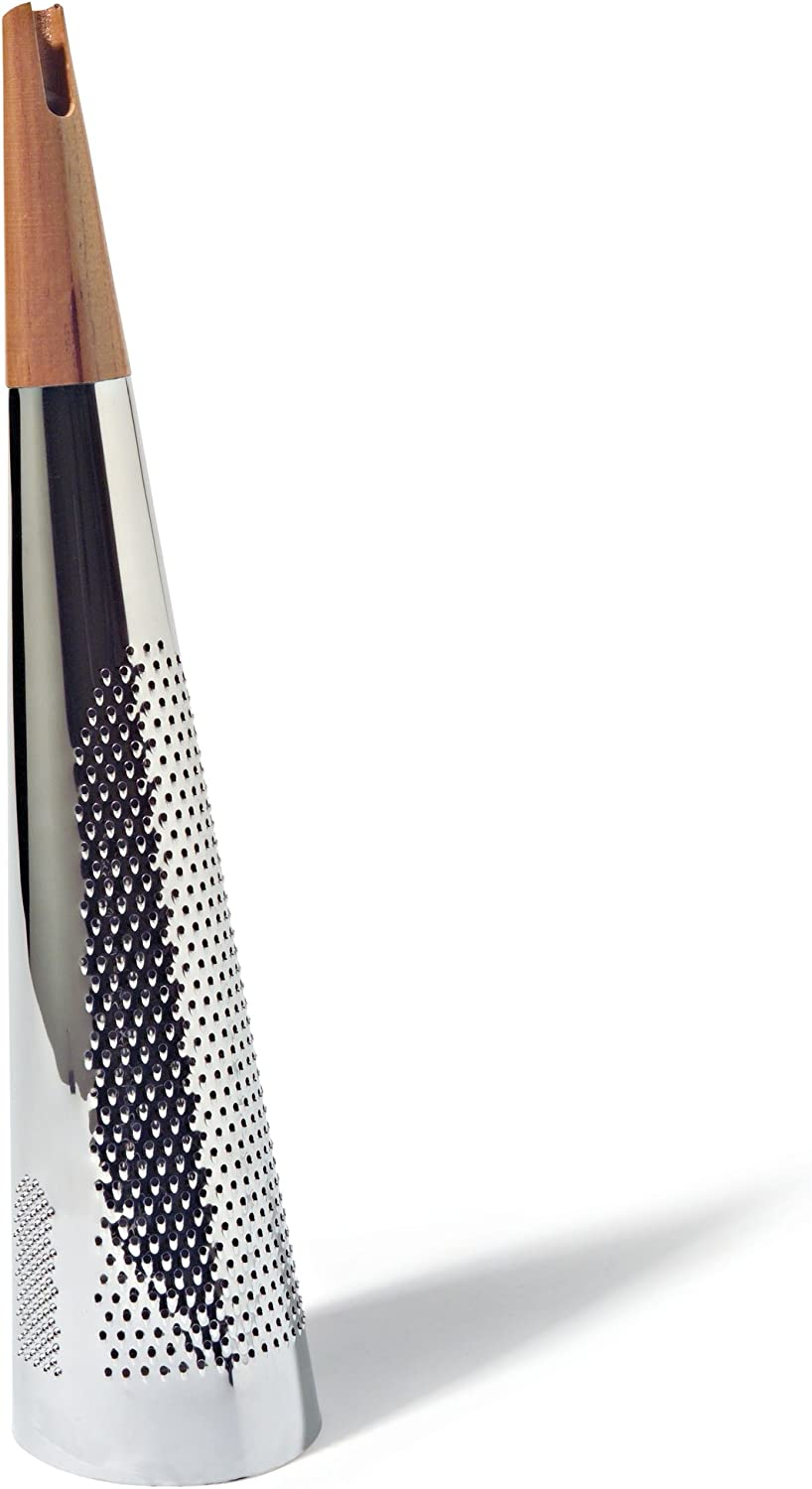 "Alessi""Todo"" Giant Cheese And Nutmeg Grater in Steel And Wood, Silver"