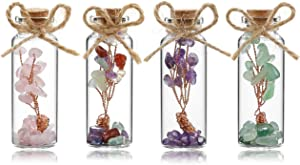 Jovivi 4 Pack Mini Natural Gemstone 7 Chakra Crystal Money Tree in Glass Wishing Bottles Wire Wrapped Tree of Life Tumbled Crushed Chip Stones for Wicca Reiki Home Office Desk Decorations
