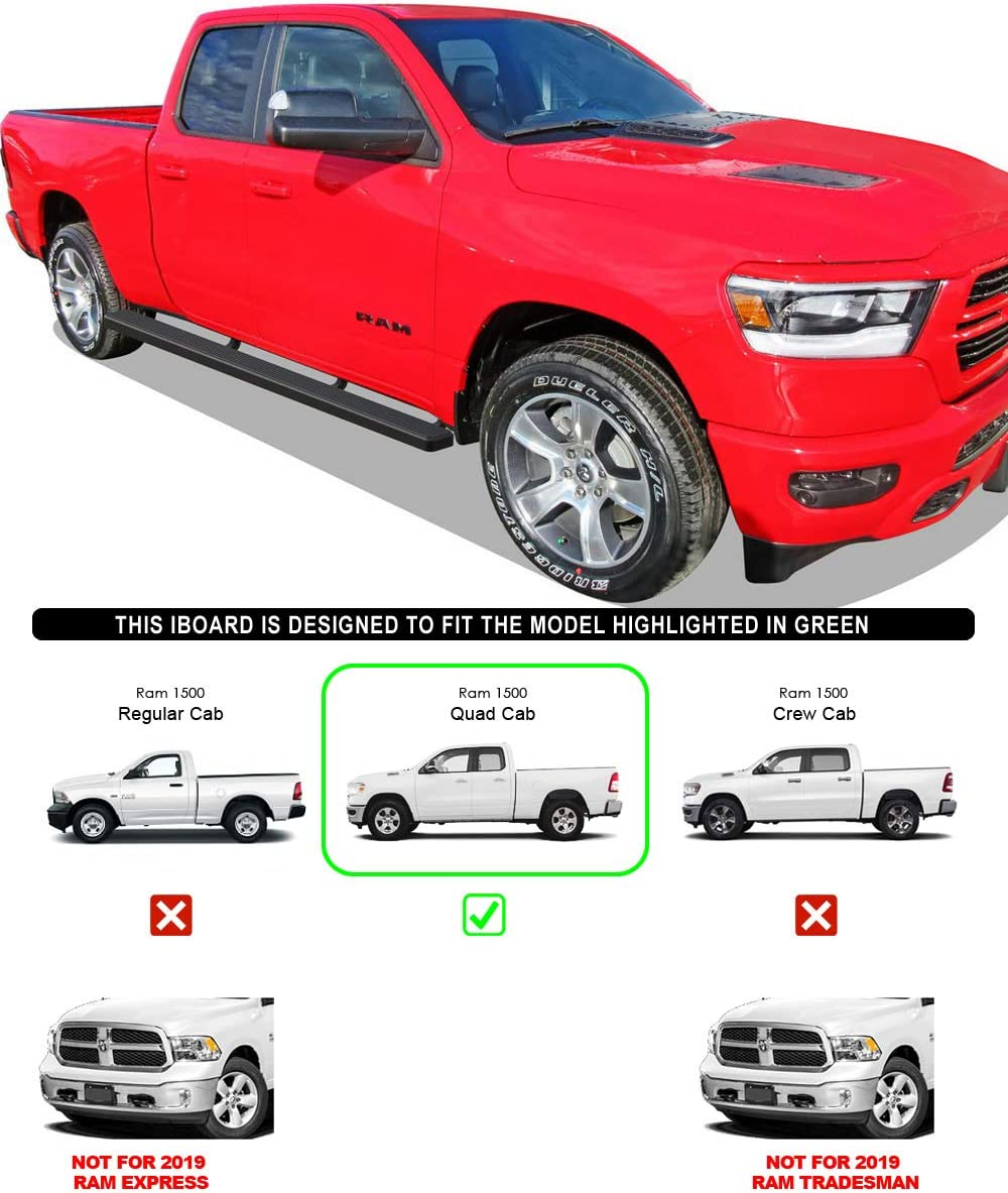 Compatible with 2019-2020 Dodge Ram 1500 Quad Cab Pickup 4-Door for New Body Style Only Black Powder Coated 4 inches Nerf Bars Side Steps APS iBoard Running Boards Will Not Fit 2018 Model