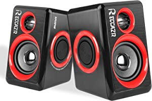 Computer Speakers, 2.0 CH PC Speakers with Surround Sound, USB Wired Laptop Speakers with Deep Bass for Desktop Computer/PC/Laptops/Smart Phone Build-in 4 Loudspeaker Diaphragm Reccazr SP2040 RED