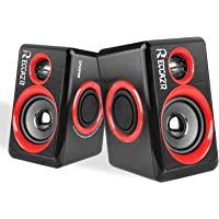 Computer Speakers With Surround Subwoofer Heavy Bass USB Wired Powered Multimedia Speaker for PC/Laptops/Smart Phone RECCAZR SP2040 Built-in Four Loudspeaker Diaphragm (RED)