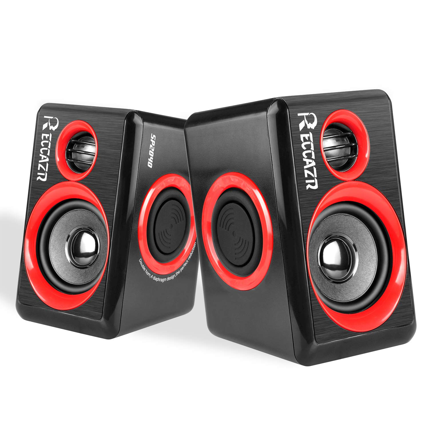 Computer Speakers with Stereo Sound, RECCAZR LED Colorful Desktop Speakers,63 inches Cable Length,USB Powered, 2.0 Channel Surround Speakers for Laptop/PC/Smart Phone SP2070