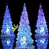 OLOPE LED Christmas Tree with Painted Colorful Ornaments, Pre-lit Artificial Mini Christmas Tree, Coloring Changing…