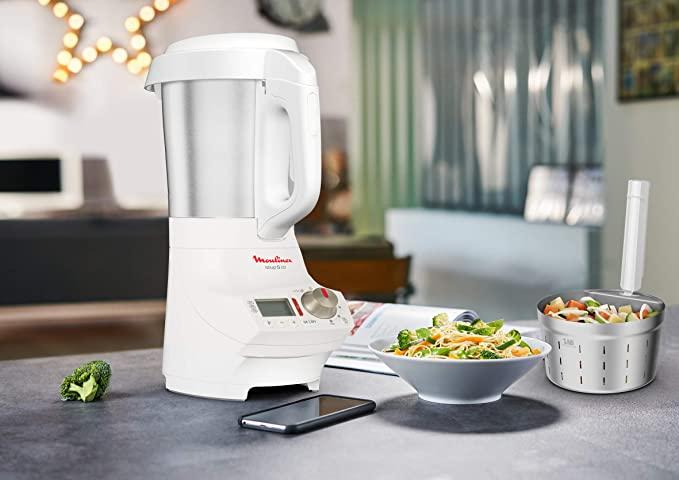 Moulinex Soup & Co LM904110 - Sopera eléctrica, recetas frías y calientes, programas automáticos, 5 velocidades + función Pulse + picar hielo, vaso de acero inoxidable, 1.8 L: Amazon.es: Hogar