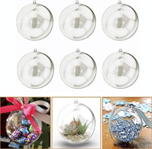 Adorox (60mm;12 Ornaments Clear Plastic Fillable Ornaments Christmas Favor Candy Party Decor Spheres