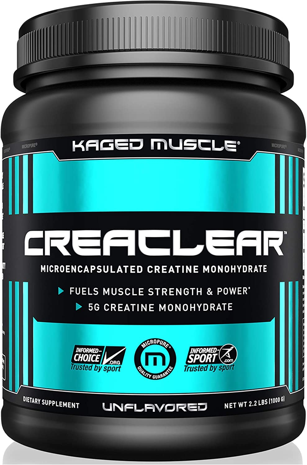 Kaged Muscle, CreaClear – Microencapsulated Creatine Monohydrate Powder, Improved Solubility – Mixes Clear, 1000g, Unflavored