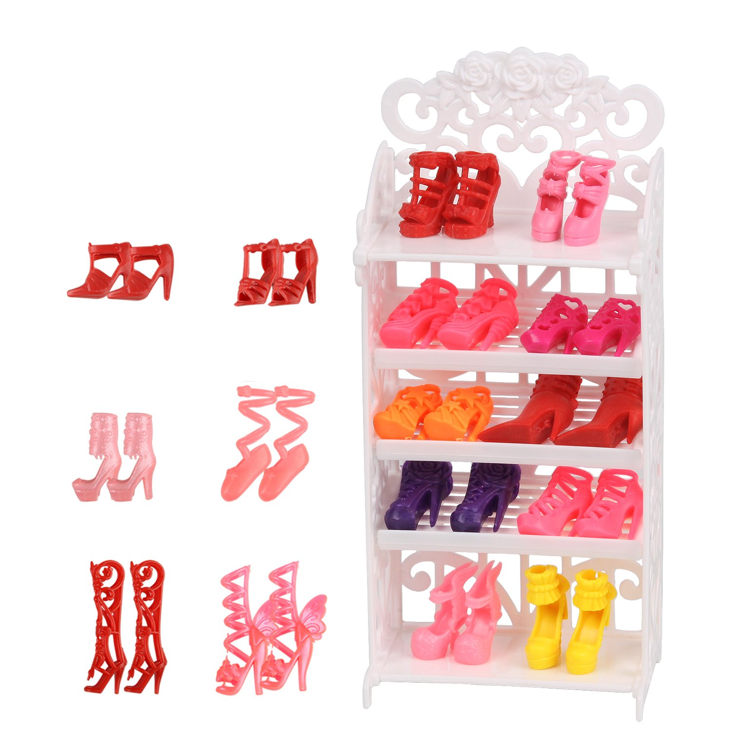 JING SHOW BUSSINESS Doll Shoes Rack Accessory + 16 Pairs Shoes for Doll Playset