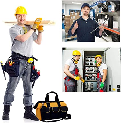 Copechilla bolsa herramientas electricista profesional,31X23X17CM,Negro con amarillo,con correa ajustada y asa,Material 600D Oxford impermeable doble capa engrosamiento,8 bolsillos,para hogar