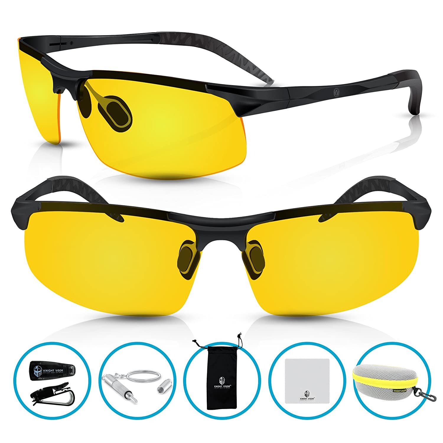 208fc43d61c78 Knight Visor Polarized Professional HD Night Vision Glasses for Driving -  Sport Bike Riders Protection Sunglasses - With Flexible Frame and FREE Car  Clip ...