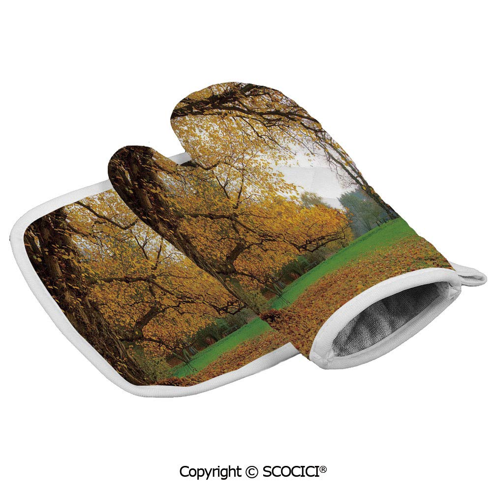 SCOCICI Oven Mitts Glove - Autumnal Park with Big Ancient Oak Tree and Deciduous Leaves Heat Resistant, Handle Hot Oven Cooking Items Safely