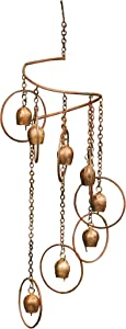 Ancient Graffiti AG-87064, 8 x 25 Flamed Circle with Bells Hanging Spiral Mobile, 8 x 2