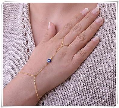 Evil eye Slave Bracelet Hand Chain Gold Finger Bracelet Gold