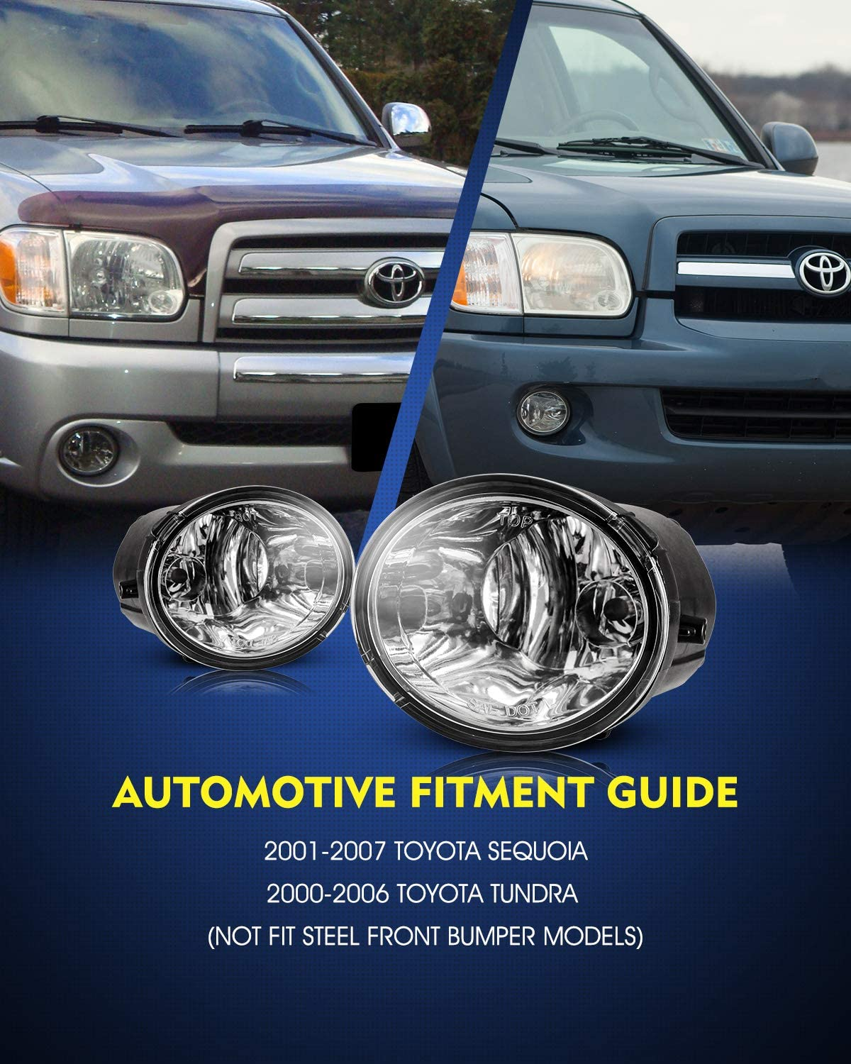 Not Fit Steel Front Bumper Models AUTOWIKI Fog Lights for 00-06 Toyota Tundra // 01-07 Toyota Sequoia