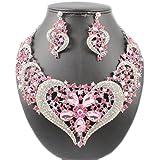 Janefashions HEART AUSTRIAN RHINESTONE CRYSTAL BIB NECKLACE EARRINGS SET BRIDAL N1620 (Pink)