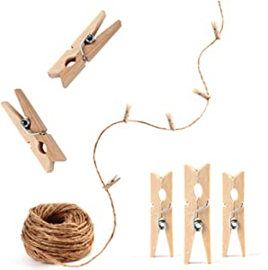 Hanging Photo Display 250 Feet Twine with 100 Mini Clothespins Picture Clip Holder Best Dorm Wall Wedding Home School Nursery Room Décor