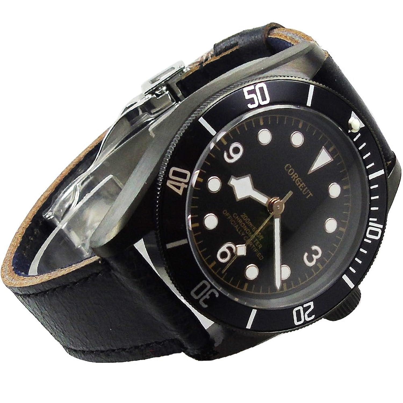 41 mm corgeutメンズ自動機械腕時計ブラックPVDケースサファイアガラス B06XRJN8YX