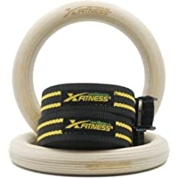"""xFitness Wood Gymnastic Rings 9.25"""" Diameter Ring with Enhanced Flexible Buckles & Durable Adjustable Straps for Crossfit and Strength Training   Ring Pull Up, Dips, Muscle Up, Ring Row"""