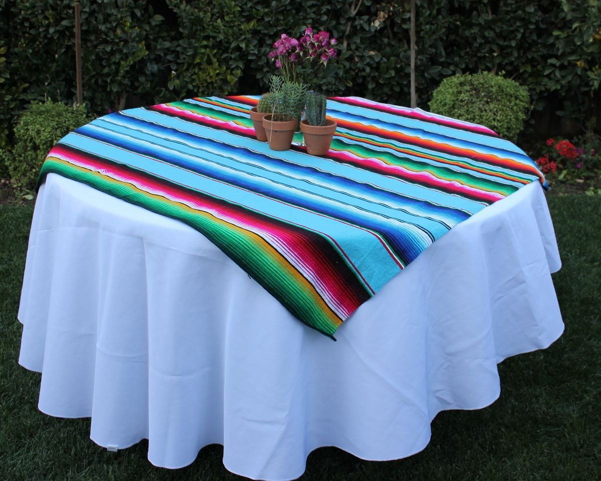 Amazon.com: Del Mex Square Mexican Serape Blanket Tablecloth Overlay ...