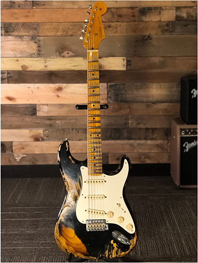 Fender Custom Shop guitarra eléctrica 2018 Namm Ltd 57 Strat hvrel BLK/2TS: Amazon.es: Instrumentos musicales