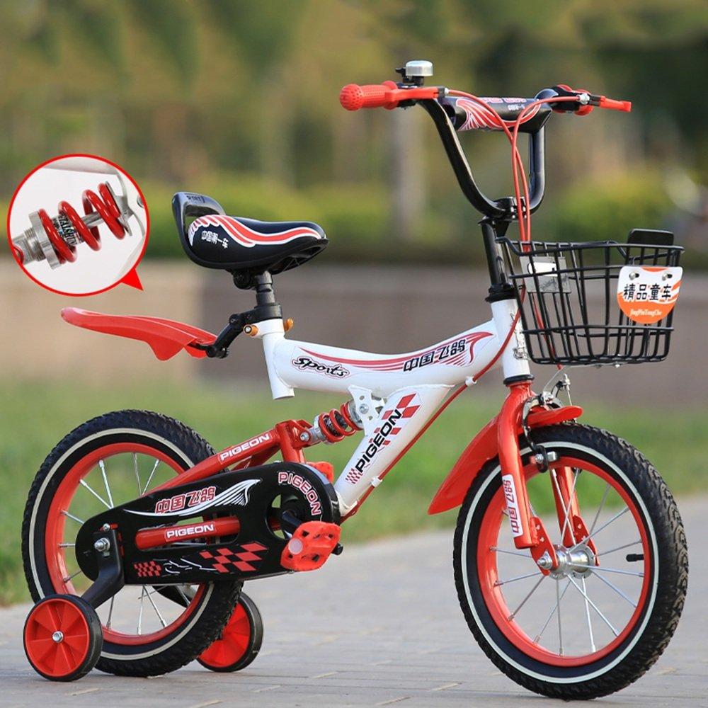PJ 自転車 トレーニングホイールとバスケット付きのガールズバイク、子供のための完璧なギフト。 12インチ、14インチ、16インチ、18インチ、イエローブルーレッド 子供と幼児に適しています ( 色 : 赤 , サイズ さいず : 18 inch ) B07CQYM4JD 18 inch|赤 赤 18 inch