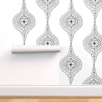Spoonflower Peel And Stick Removable Wallpaper Black And White Moroccan Hand Drawn Block Print Self Adhesive Wallpaper 12in X 24in Test Swatch Amazon Com