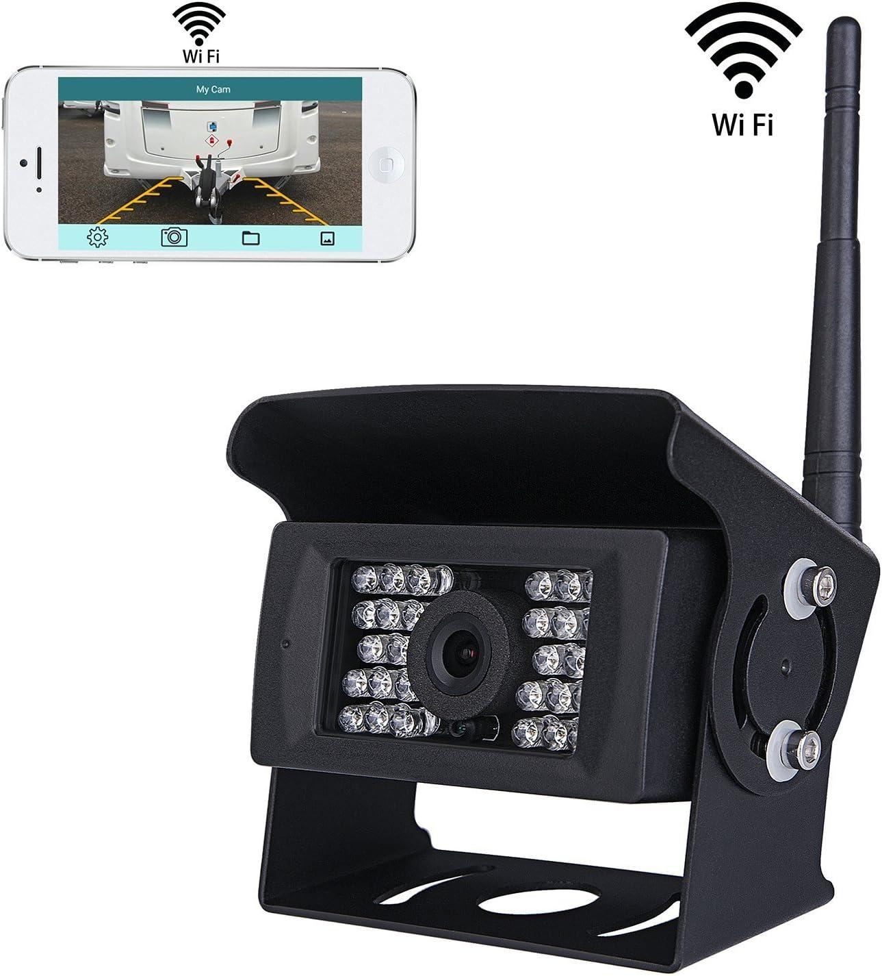 Wifi - Cámara de Marcha Atrás Inalámbrica con Sistema CCTV, 36 V a 12 V IP69 Impermeable 28 luces de Infrarrojos Visión Nocturna , Compatible con iPhone/iPad / Android ,para Remolque/ RV/Camiones