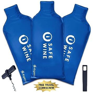Super seguro para botella de vino bolsas de viaje pantalla (3 Pack) con sacacorchos