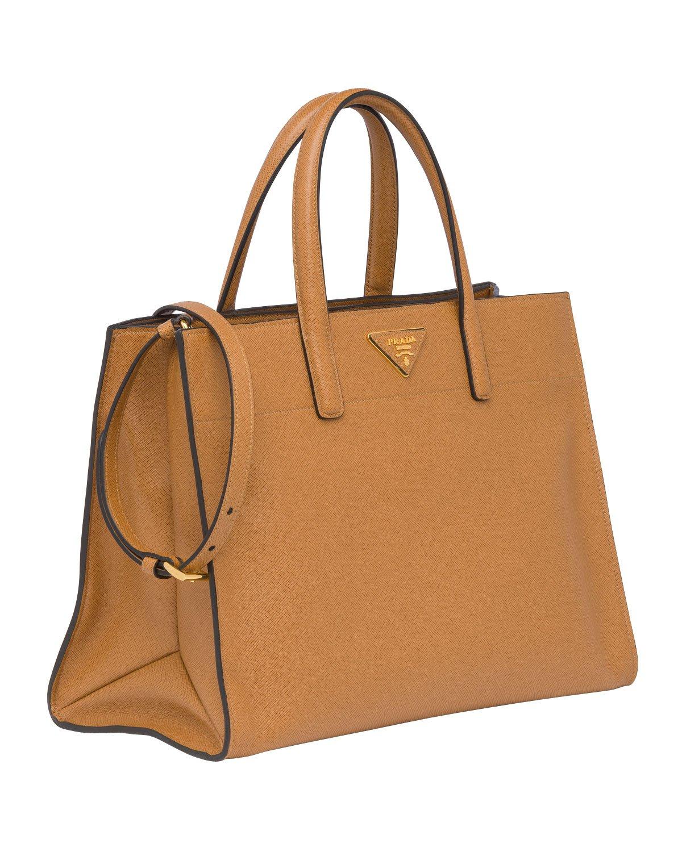 c2078a44 Amazon.com : Prada Womens Saffiano Soft Tote Bag in Caramel Brown ...