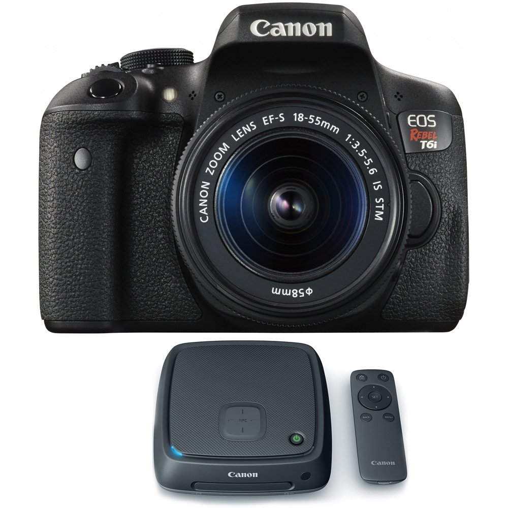 Canon EOS Rebel T6i Digital SLR Camera w/ EF-S 18-55mm Lens + CS100 1TB Connect Station Storage Hub Bundle by Canon
